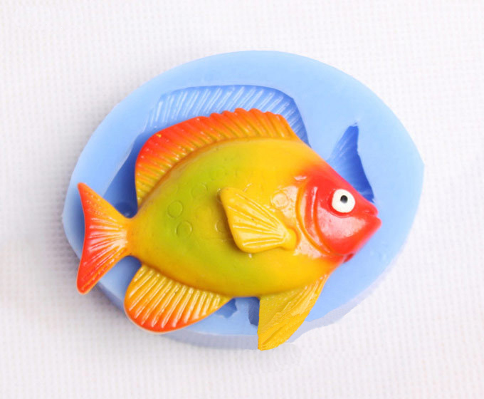 Free shipping 3d fish silicone mold fondant cake molds for Silicone fish molds
