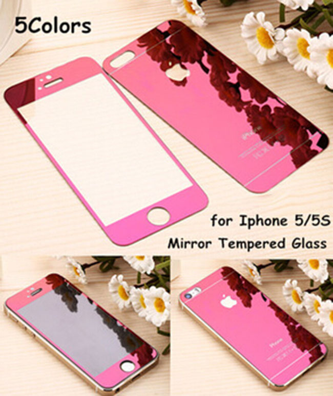 The latest technology of color plating tempered glass colorful Screen Protector for IPHONE 5 5S front and back protective film(China (Mainland))