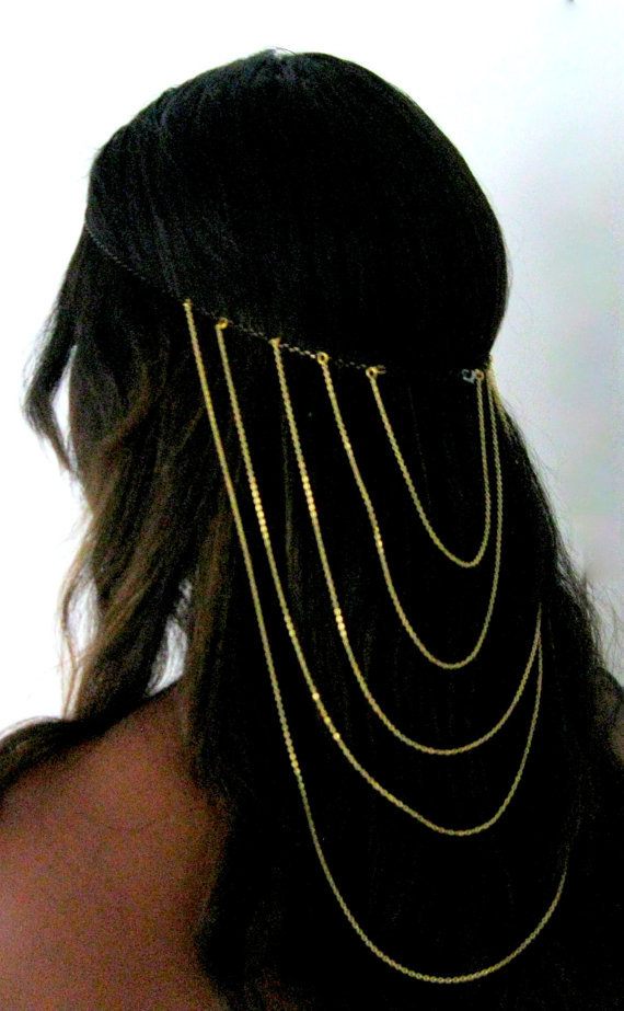 Fashion invisible gold helmet long hair accessories(China (Mainland))