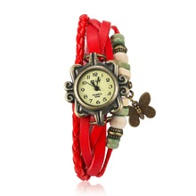 Hot vintage woman leather bracelet watch charm butterfly pendant quartz Wristwatches Female street style accessories Relogio(China (Mainland))