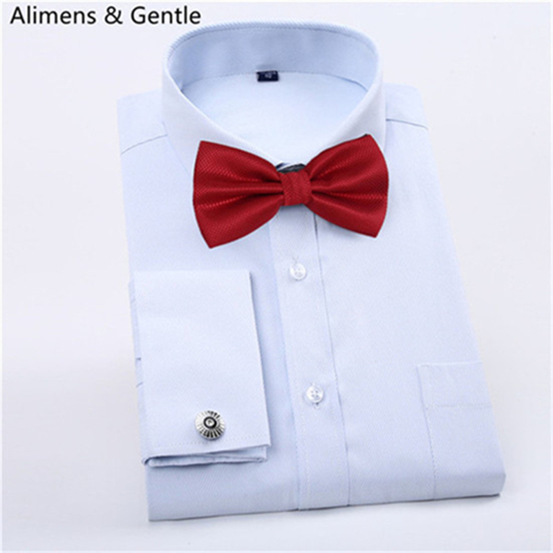 French Shirt Mens Cufflinks Dress With Tie Tuxedo Slim Fit Luxury Long Sleeve Wedding Party Light Blue White 2016 Fashion New(China (Mainland))
