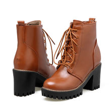MoonMeek busana musim gugur musim dingin baru sepatu tiba wanita hitam abu-abu coklat ankle boots lace up wanita tumit persegi boots(China)