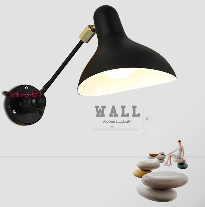 Retro Loft Industrial Replica Designer Rotating Mantis Wall Lamp Light With Single Arm 110V-240V Black/Yellow/White(China (Mainland))