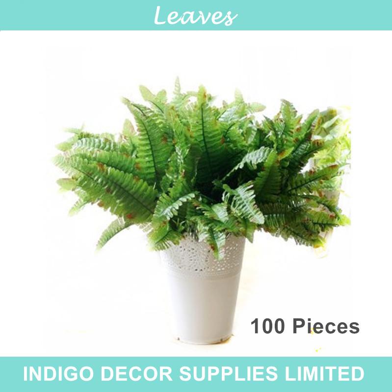 INDIGO- Wholesale 100 Green Sword Fern Free Shipping Decorative Leaf Artificial Flower Wedding Flower Hotel Wall FlowerParty(China (Mainland))
