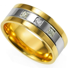 Men 8MM Size 7 8 9 10 11 12 13 14 15 Stainless Steel 18K Gold Plated Wedding Engagement School Dad Ring Band Classic Two-Tone(China (Mainland))