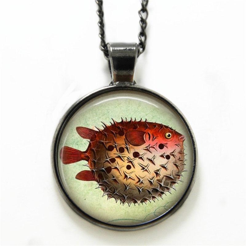 10PCS Pufferfish necklace, Fish Jewelry Nautical Marine Life Puffer Fish Ocean Art necklace Fish print glass necklace(China (Mainland))