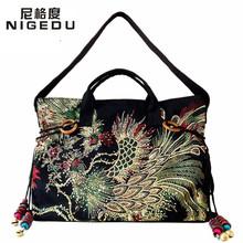 Национальный стиль двусторонняя Феникс картины вышивка женщин сумки холст вышитые кисточкой женщины сумка Бесплатная доставка(China (Mainland))