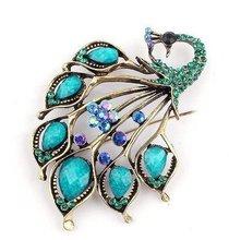 Vintage antique gold rhinestone pavone spilla pin decorative abbigliamento e accessori del vestiario(China (Mainland))