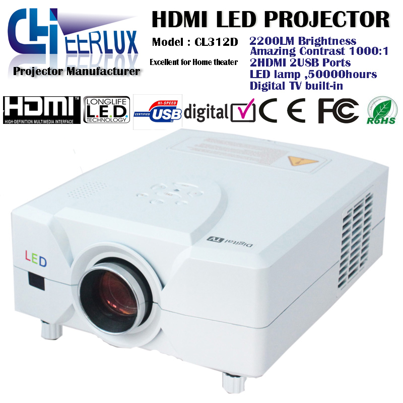 professional home theatre projector with dvb-t built in + 2 hdmi ports+ 2 usb inputs + led lamp 4 dvd vt game wii ps1,2,3 pc(China (Mainland))