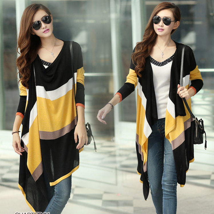 Free Shipping Stripe Contrast Color Long Sleeve Asymmetrical Hem Women's knitted Cape Coat(China (Mainland))