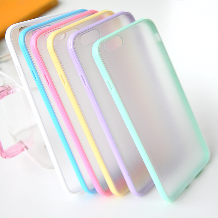 Fashion Slim Colorful TPU Frame Clear Case For iPhone 6 4.7 inch Transparent Matte Hard Phone Back Cover For iPhone 6 Plus 5.5(China (Mainland))