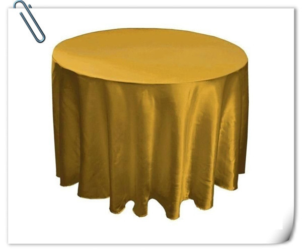 """10Pcs/lot 120"""" Satin Table Cover Gold Round Tablecloth for Banquet Wedding Party Decoration Shipping(China (Mainland))"""