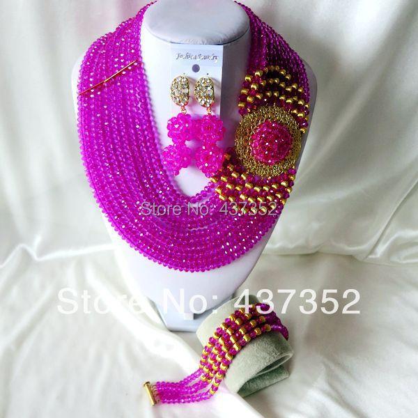 New Fashion Nigerian African Wedding Beads Jewelry Fuchisa Necklaces Bracelet Earrings Jewelry Set CPS-933<br><br>Aliexpress