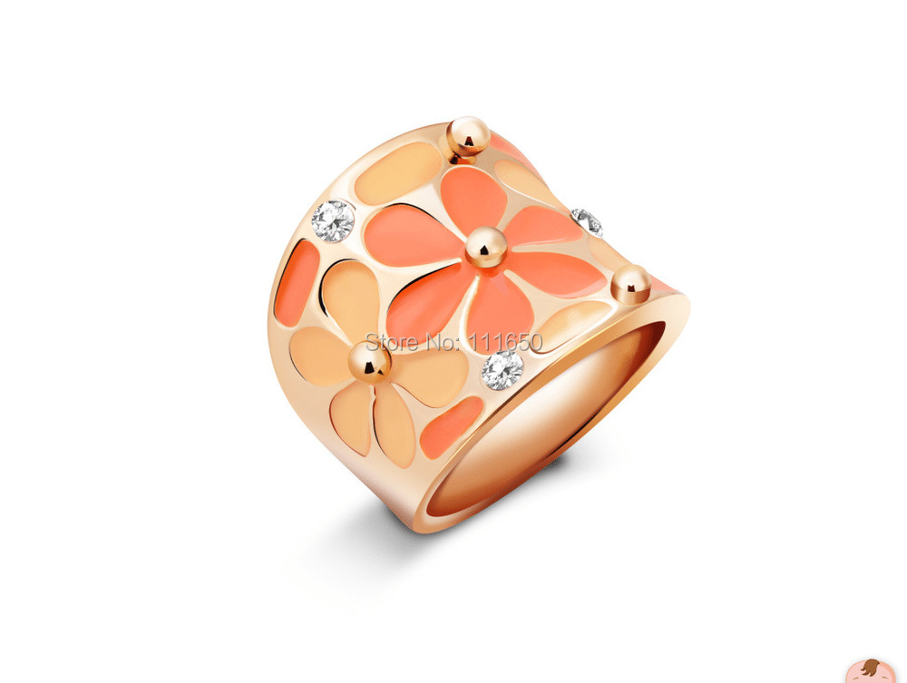 Rose Gold Plated Rhinestones Daisy Flower Enamel Jewelry Finger Ring,Daisy Flower Scarf Buckle,1pcs(China (Mainland))