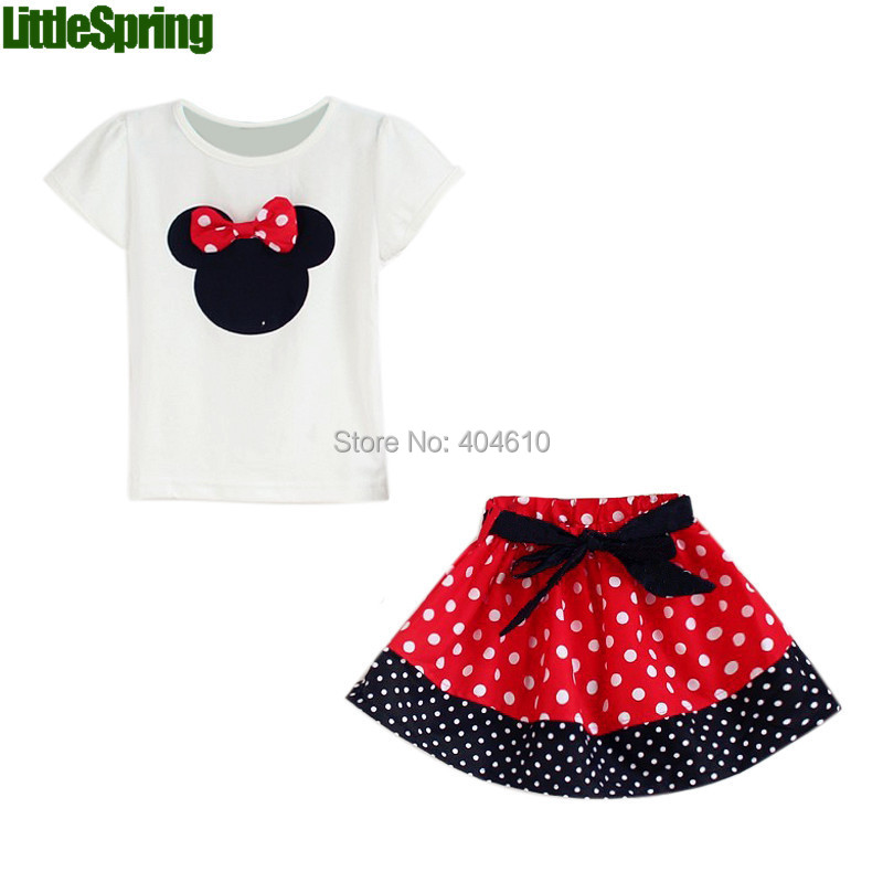 Retail Children's Sets 2015 Summer New Children Girl's 2PC Skirt Suit Minnie Mouse dots skirt pants girls clothing set  -  Baby Online store