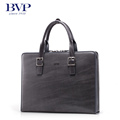 BVP EMS Free Shipping Men s Stripe Genuine Real Leather Vintage Briefcase Laptop Attache Portfolio Document