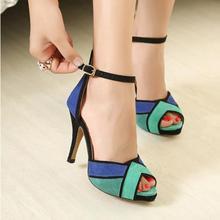 New 2015 women high heels fashion women sandals mulheres sandalias women shoes 2 colors size 34-39 free shipping(China (Mainland))