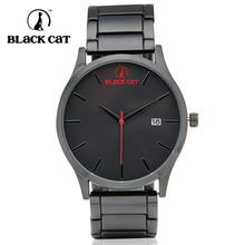 2015 Hot  Brand watch BLACK CAT black men stainless steel fashion watch Japanese quartz movement Auto Calendar 50M waterproof