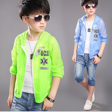 Children's clothes 2016 summer boys sunscreen jacket with hood  thin air-conditioned hoodies kids long sleeve solid clothes(China (Mainland))