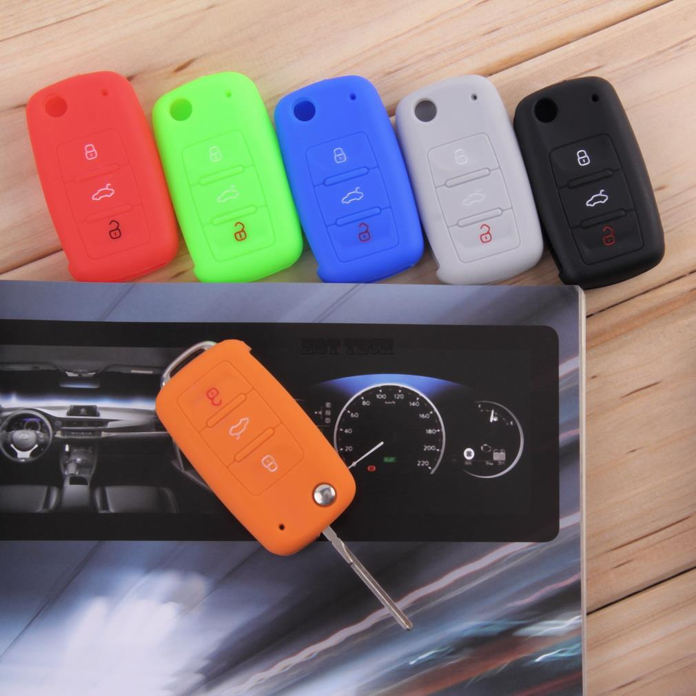 New 3 Buttons Silicone Car Key Cover For VW Volkswagen Passat Polo Golf Touran Bora Jetta Cady Touran Sharan Transporter~(China (Mainland))