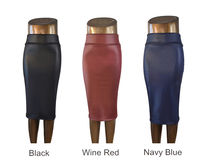 Plus Size High-Waist Faux Leather Pencil Skirt Black Leather Skirt ...