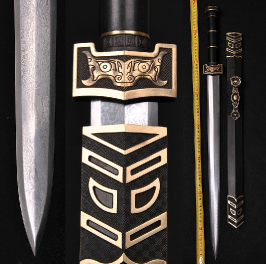 Chinese sword Eight ruyi han jian pattern steel high hardness China's han dynasty is not edged usually hard sword(China (Mainland))