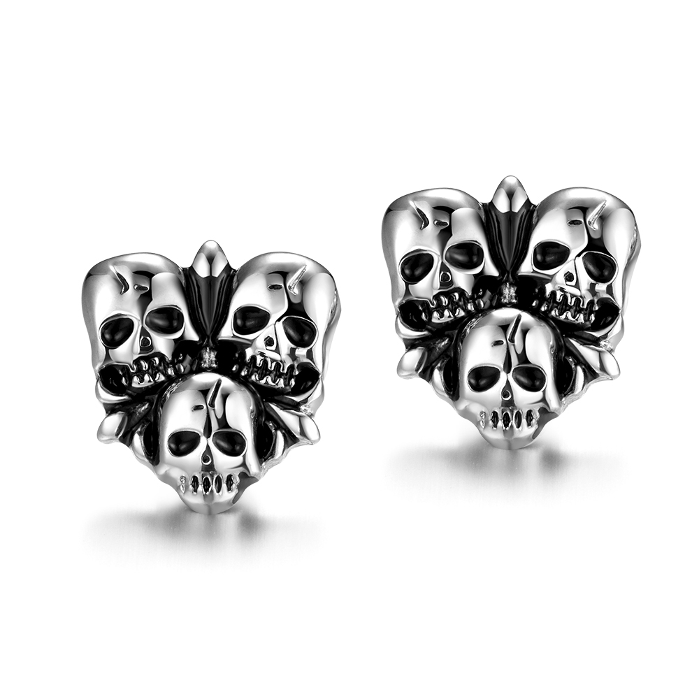 Unisex Skeleton Women's Men's Earrings Vintage Punk Styles Stainless Steel Chic Jewelry Free Shipping(China (Mainland))