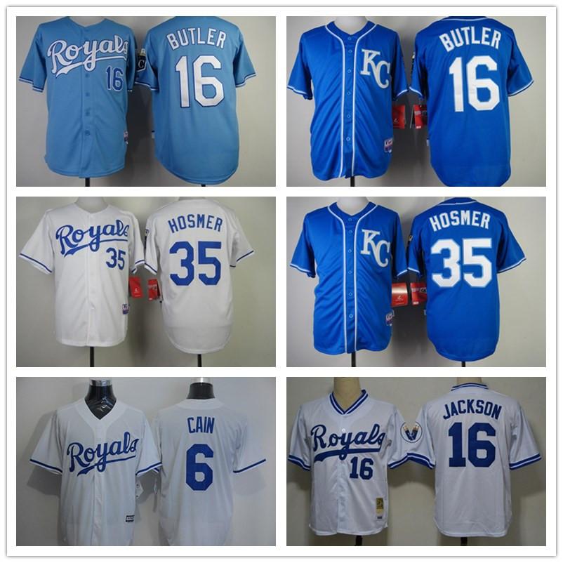 Mens Bo Jackson Royals #16 Bo Jackson Jersey Barato Throwback Baseball Jerseys Costurado Azul Branco(China (Mainland))