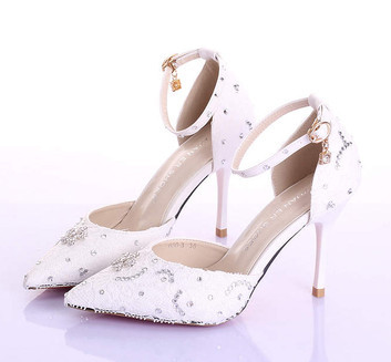 Summer new elegant with fine with white lace wedding shoe ultra-high bride shoes pointed photography female sandals(China (Mainland))
