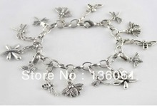 Vintage Silvers Mixed Animal Dragonfly& Bee Bracelet Chain Charm Good Luck Bracelet Bangle For Women  Dress Brand DIY 2pcs Z1015(China (Mainland))