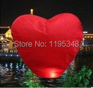 10pcs/lot Red Heart Sky Lanterns Chinese Paper Sky Candle Fire Balloons for Wedding / Anniversary / Party / Valentine wholesale(China (Mainland))