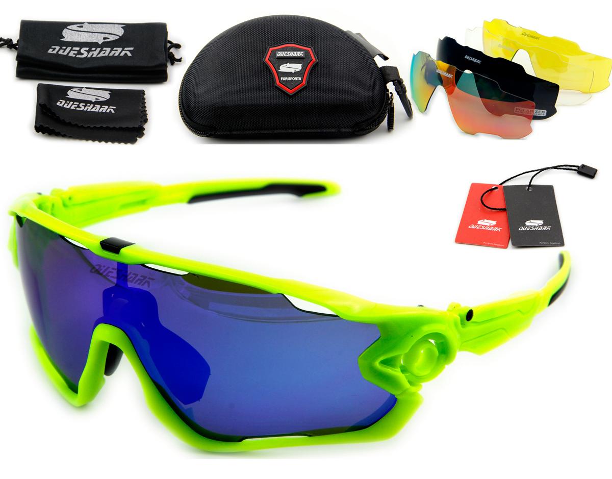 queshark 2016 лучшее качество tr90 рамка поляризованные линзы 5 объектив Велоспорт очки солнцезащитные очки велосипедов очки тур де Франс очки