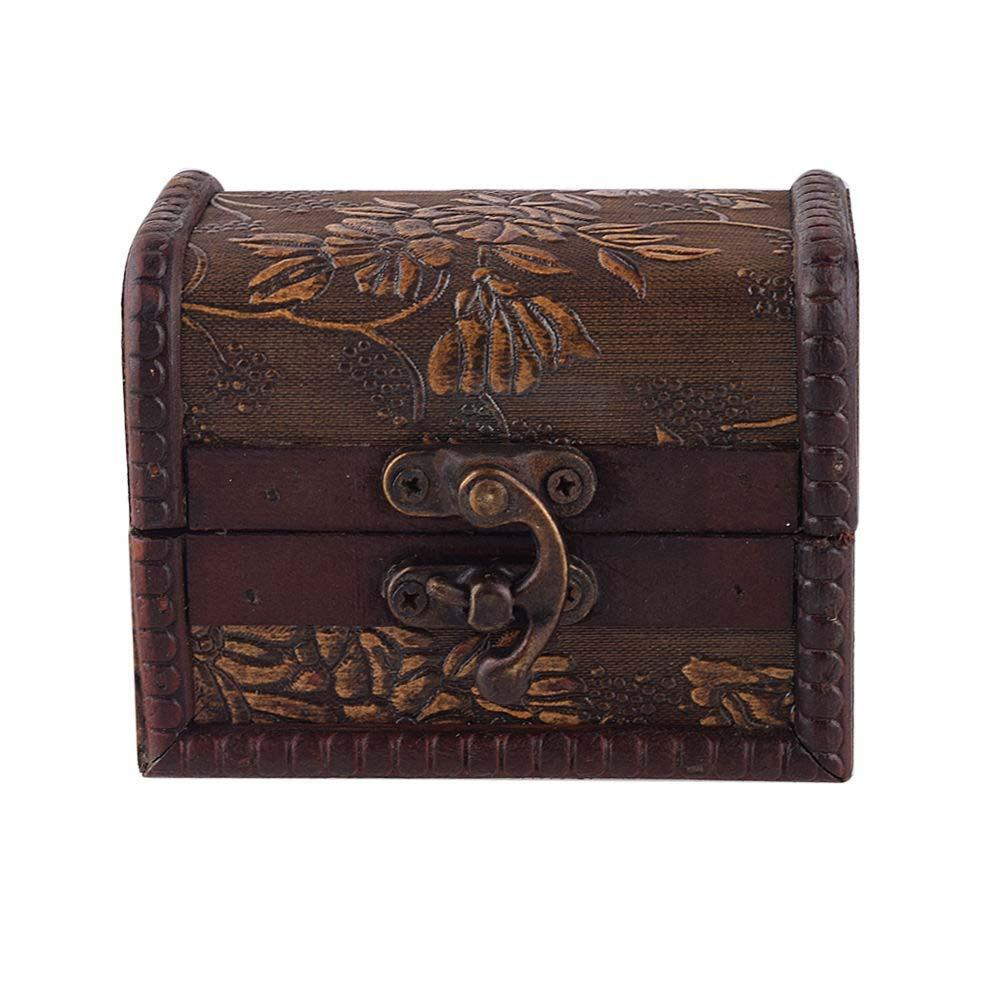 Stylish Vintage Metal Lock Jewelry Treasure Chest Case Manual Wood Box storage box Vintage Flower storage jewelry box PML(China (Mainland))