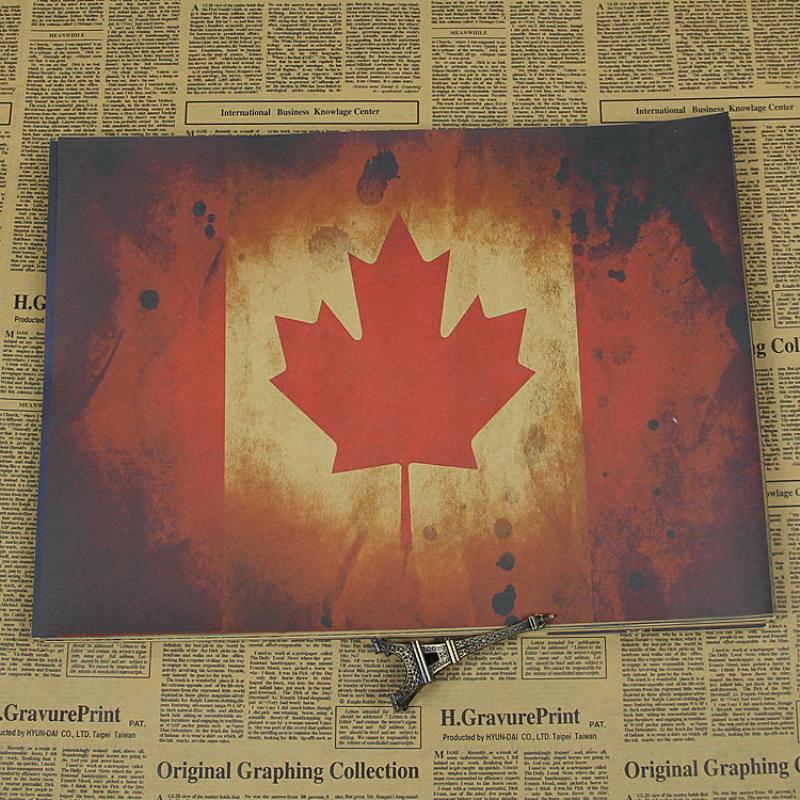 Canada Flag Poster Vintage Kraft Paper Poster Retro Bar Cafe Living Room Home Decor Wall Art