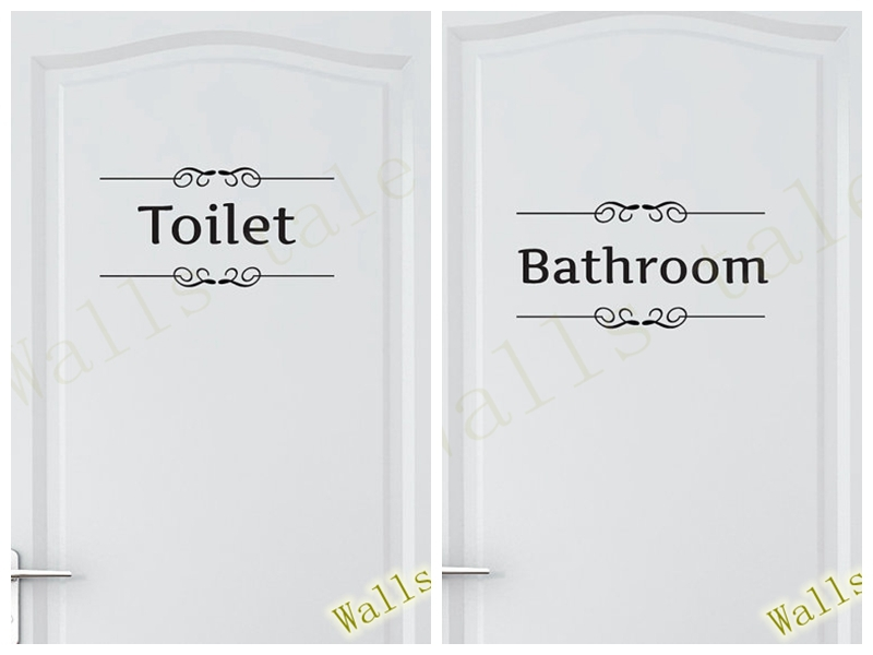 Free shipping Vintage Wall Sticker Bathroom Decor Toilet Door Vinyl Decal Transfer Vintage Decoration Quote Wall Art(China (Mainland))