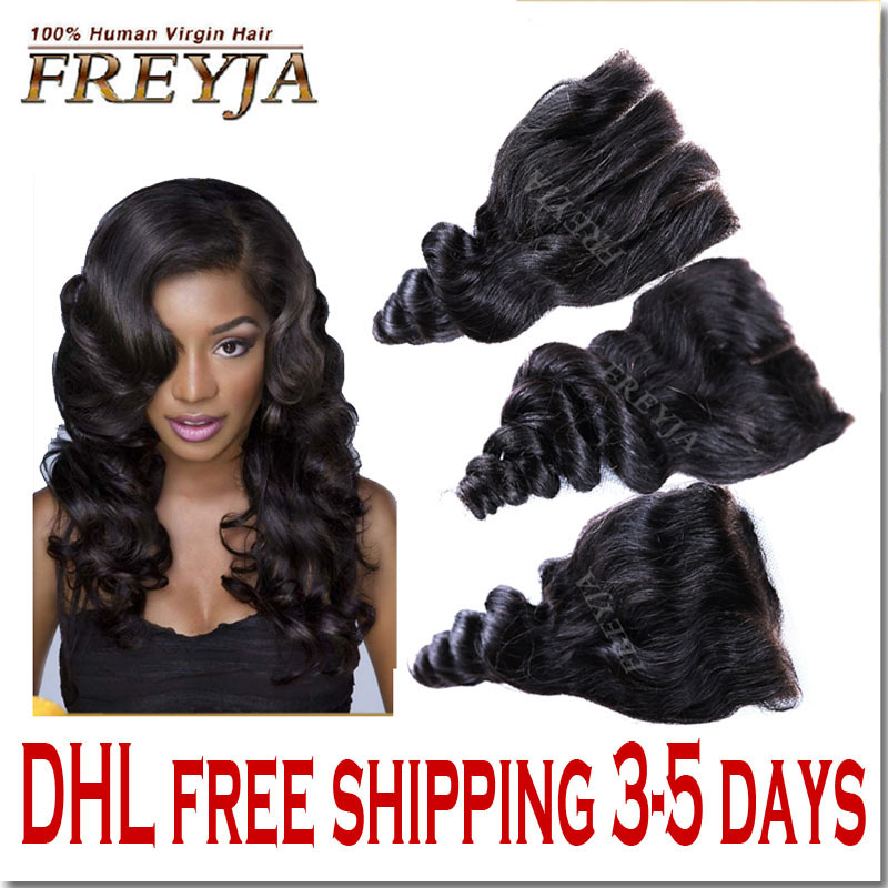 HOT 7A Virgin Hair Lace Closure Brazilian Loose Wave Closures Human Hair Bleached Knots Free Middle 3 Part Tissage Bresilienne <br><br>Aliexpress