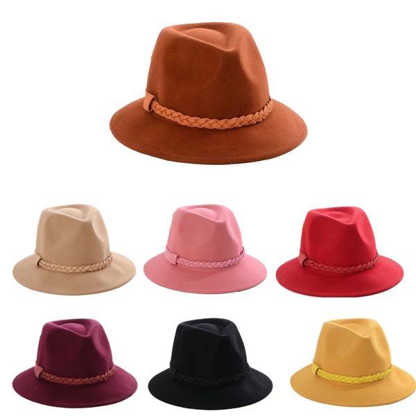 wholesale 6pcs wool felt fedora hats womens winter