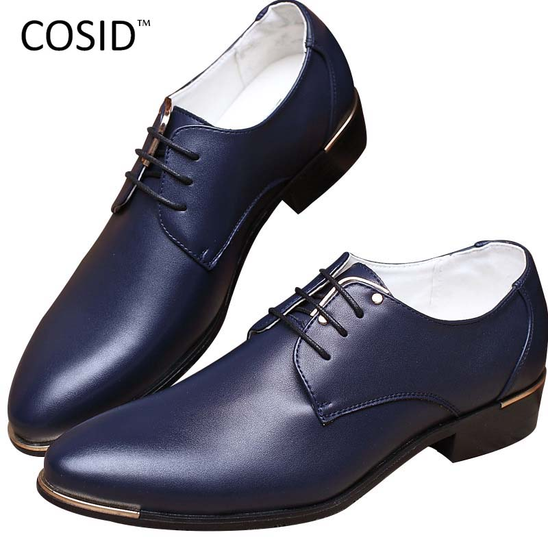 2015 Fashion High Quality Genuine Pointed Leather Men Oxfords Lace Up Business Men Shoes Men Dress