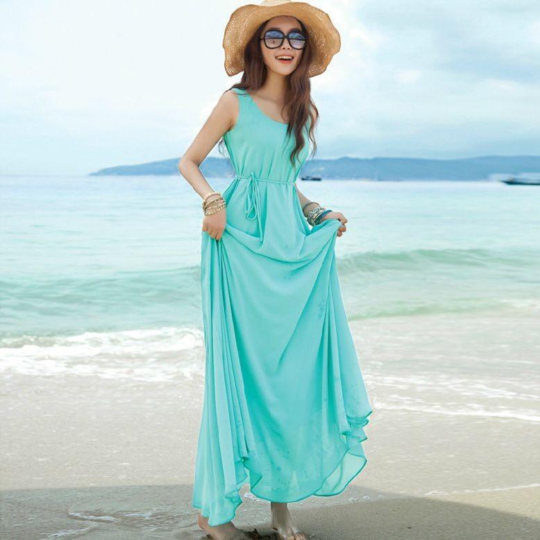 2014 one-piece dress bohemia beach full chiffon tank elegant expansion bottom - jim yue's store