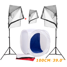 Photography Studio Soft Box Lighting Kits 100cm Light Tent Softbox+68cm Stand*2+220v 50x70cm Softbox*3 Photo Set - Ying Nuo Photographic Accessory Limited Company store