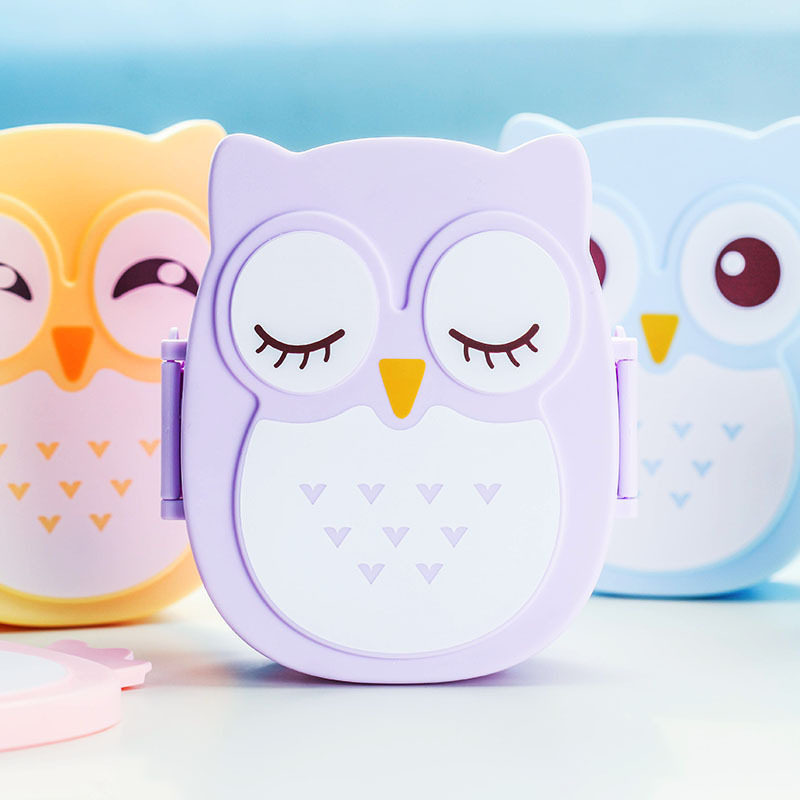 Interesting bento box sealed lunch boxes cute cartoon owl student meal packages / multicolor optionally / camping picnic(China (Mainland))