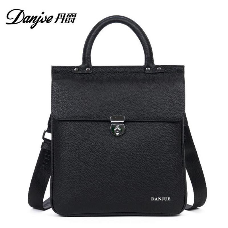 DANJUE Genuine Leather Handbags Fashion First Layer Cowhide Anti-Theft Lock Buckle Shoulder Bags Men Messenger Bags Business bag