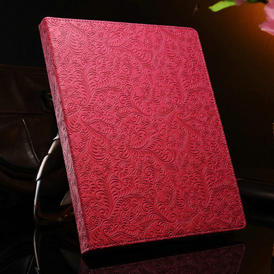 20 Pcs/lot Flower Pattern PU Leather case for ipad 3 2 4 New Luxury Red Pink Black Brown Green with Flip Stand DHL Drop Ship