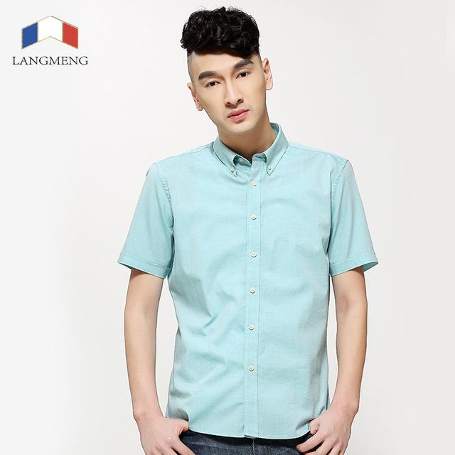 Langmeng 2016 100% хлопок летние Мужские рубашки способа высокого качества Slim fit ...