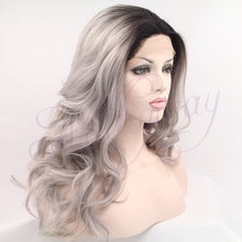 Sexy grey Synthetic Lace Front Wig Glueless wavy black to gray Heat Resistant hair Wigs Free shipping(China (Mainland))