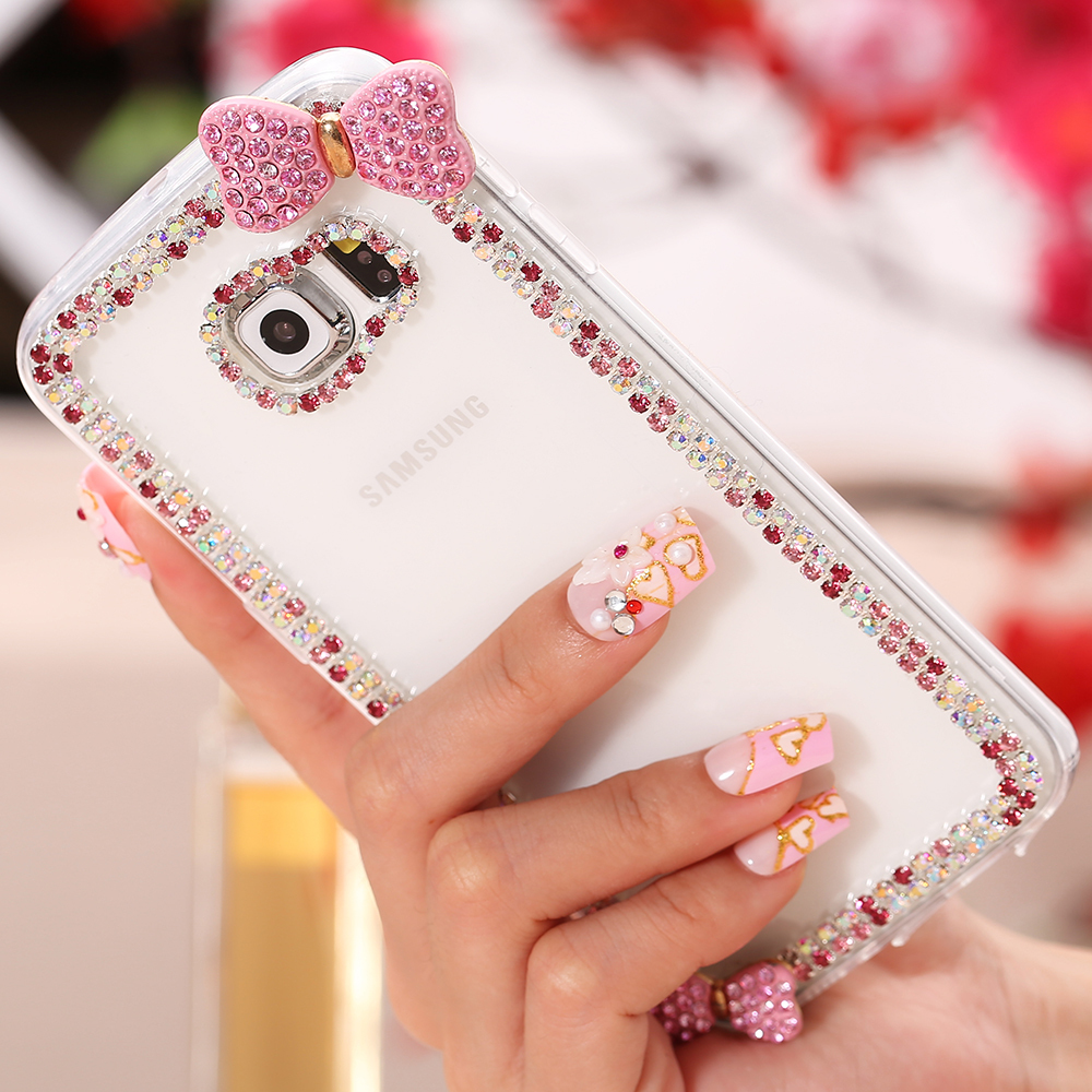 S6 / S6 Edge Cute 3D Bow Slim Bling Case For Samsung Galaxy S6 / Edge Fashion Crystal Clear Shiny Diamond Hard Cover For S6 Capa(China (Mainland))