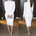 High quality Sexy Autumn women long white Package hip dress women for party Casual outfits Ladies