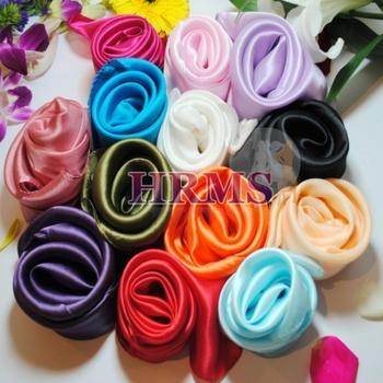 women solid color silk scarf candy color handkerchief