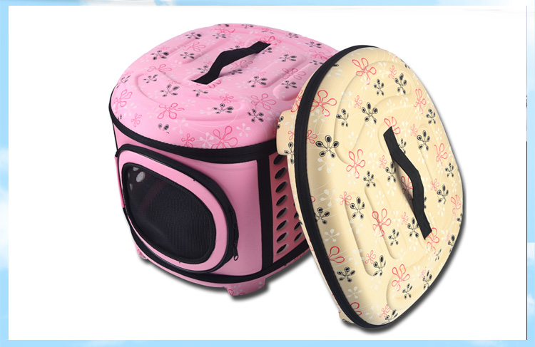 Dogs Cats Travel Bag Folding Small Pets Carrier flower print Travel Cage Collapsible Crate Tote Handbag PA11(China (Mainland))