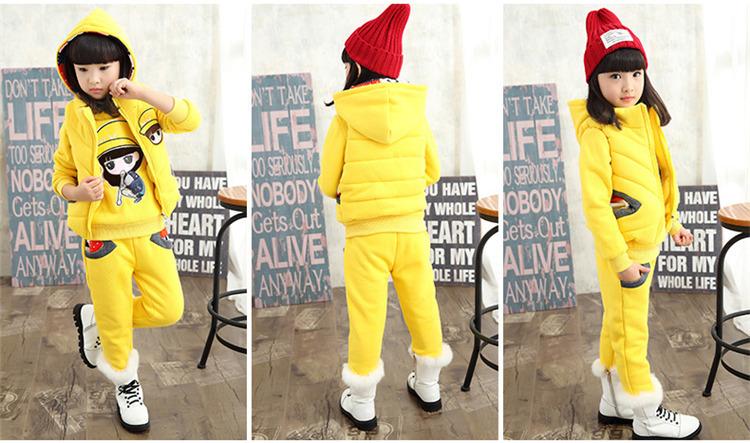 Скидки на 2016 Зимние девушки мода плюс толстый бархат комплект одежды Корейской версии ребенка девушки мультфильм костюм-тройку